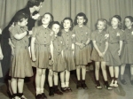 Brownie Troop 604 with Arlie Haberle: Ann Oyaas, Linda Shank, Betty June Grant, Barbara George, Margo Morris, Camille Jo